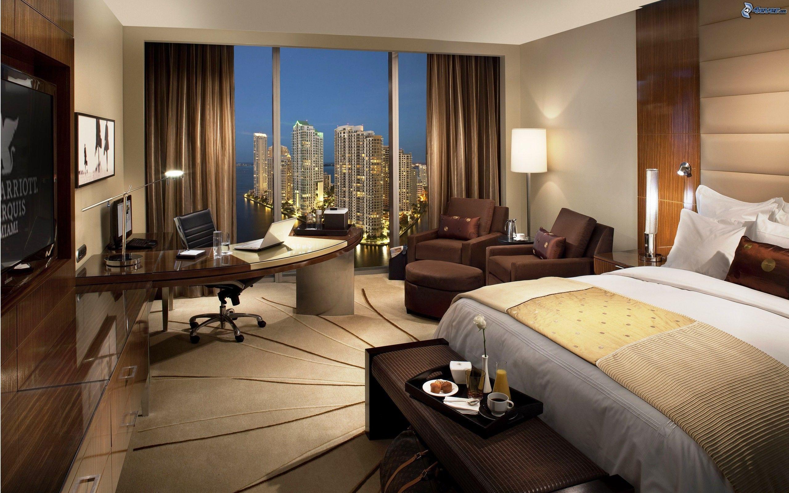 salle de sjour de lux chambre coucher lit vue sur la ville - Salle A Coucher