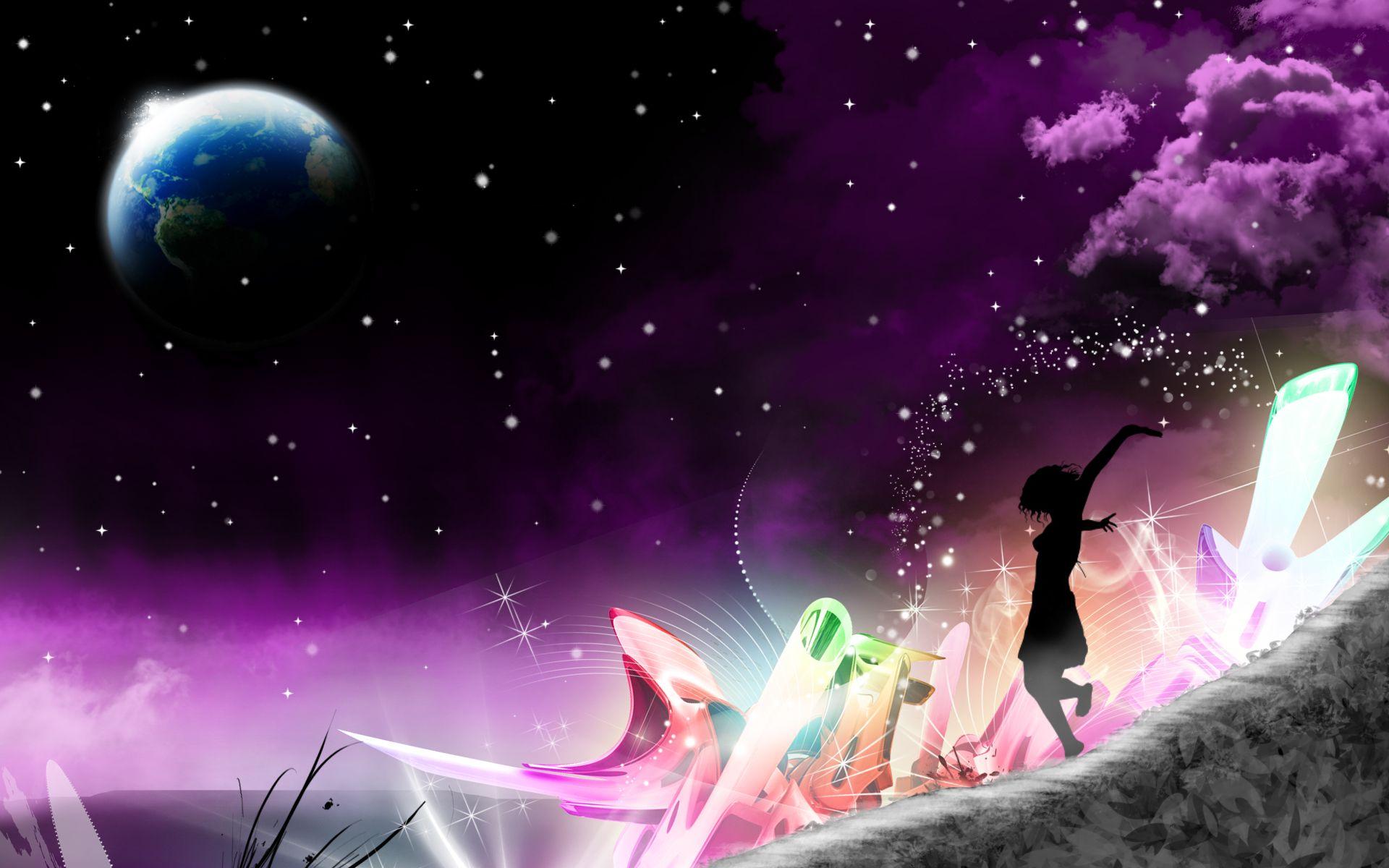 Night Wallpaper No Logo By Ualgreymon On Deviantart: Silhouette D´une Fille