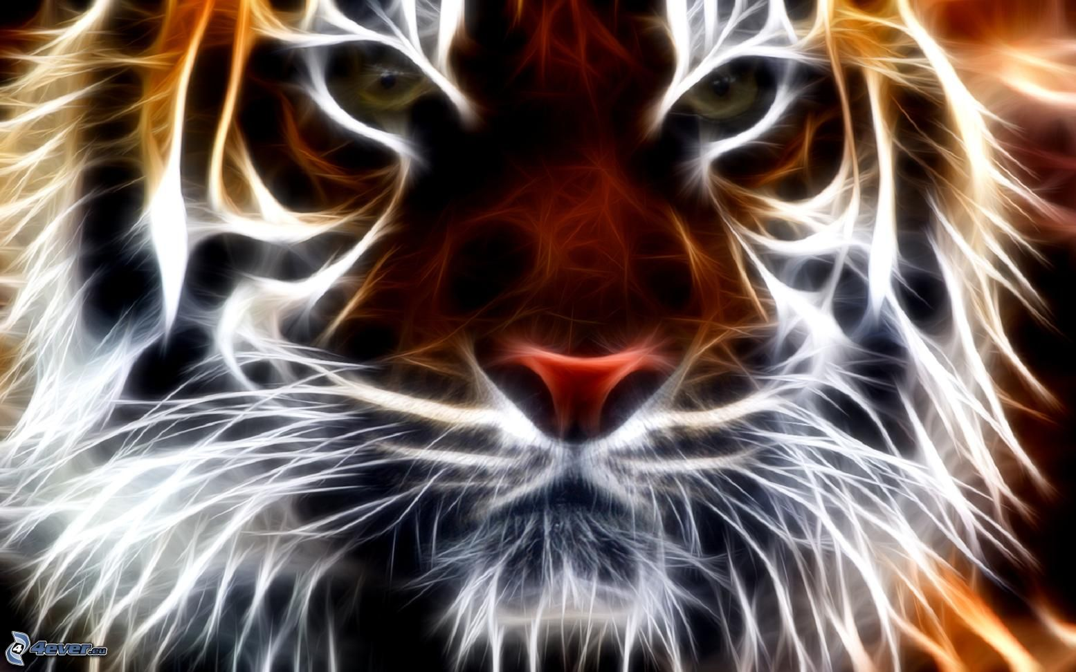 tiger fractal cats e - photo #2