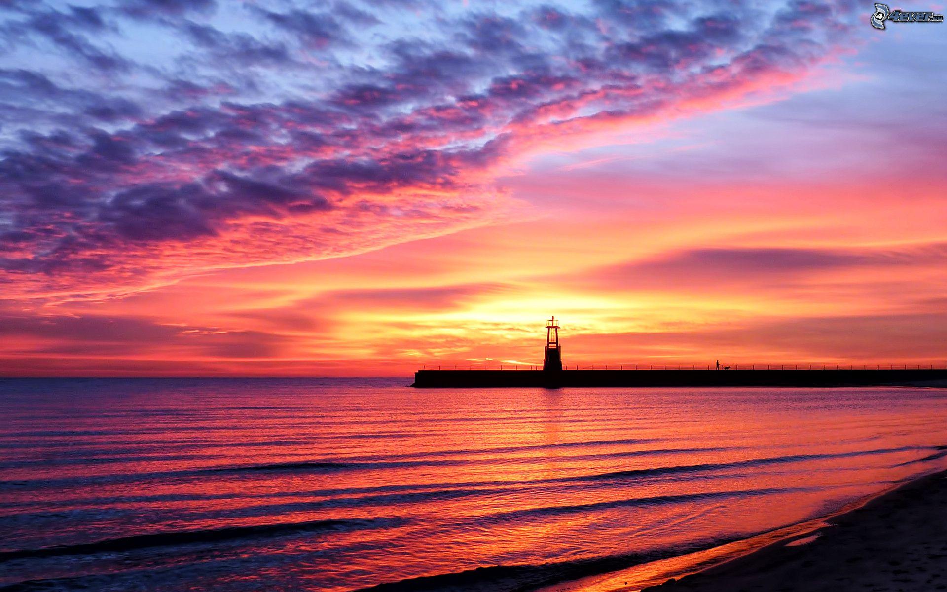 Coucher du soleil la mer - Coucher de soleil rose ...