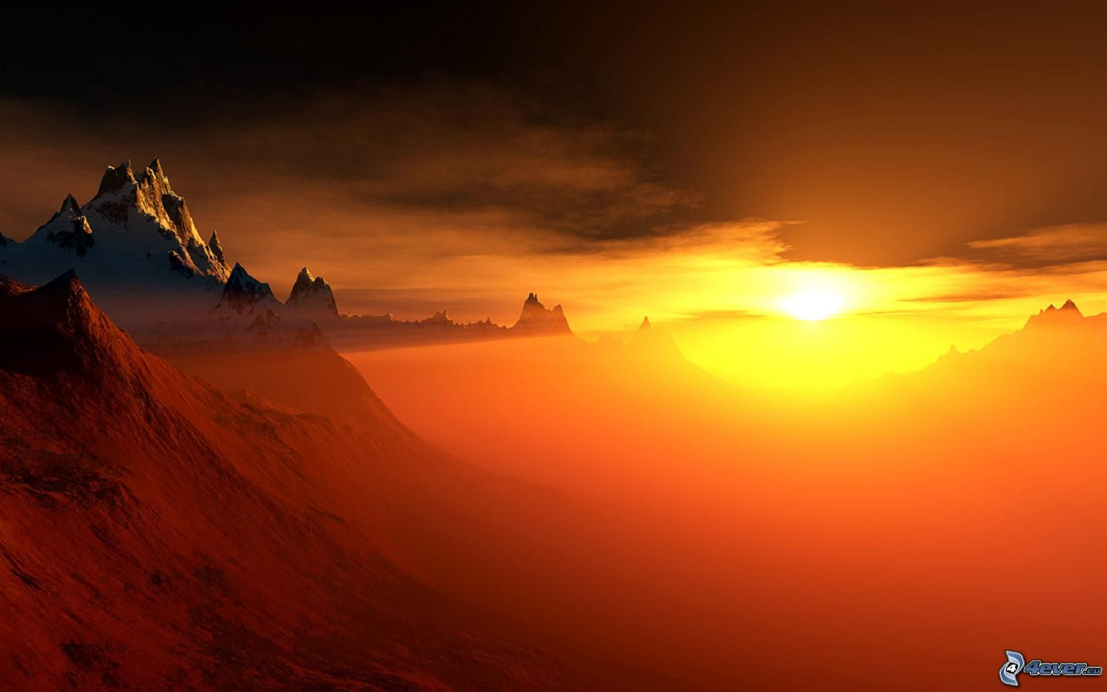 Coucher du soleil orange - Photo coucher de soleil montagne ...