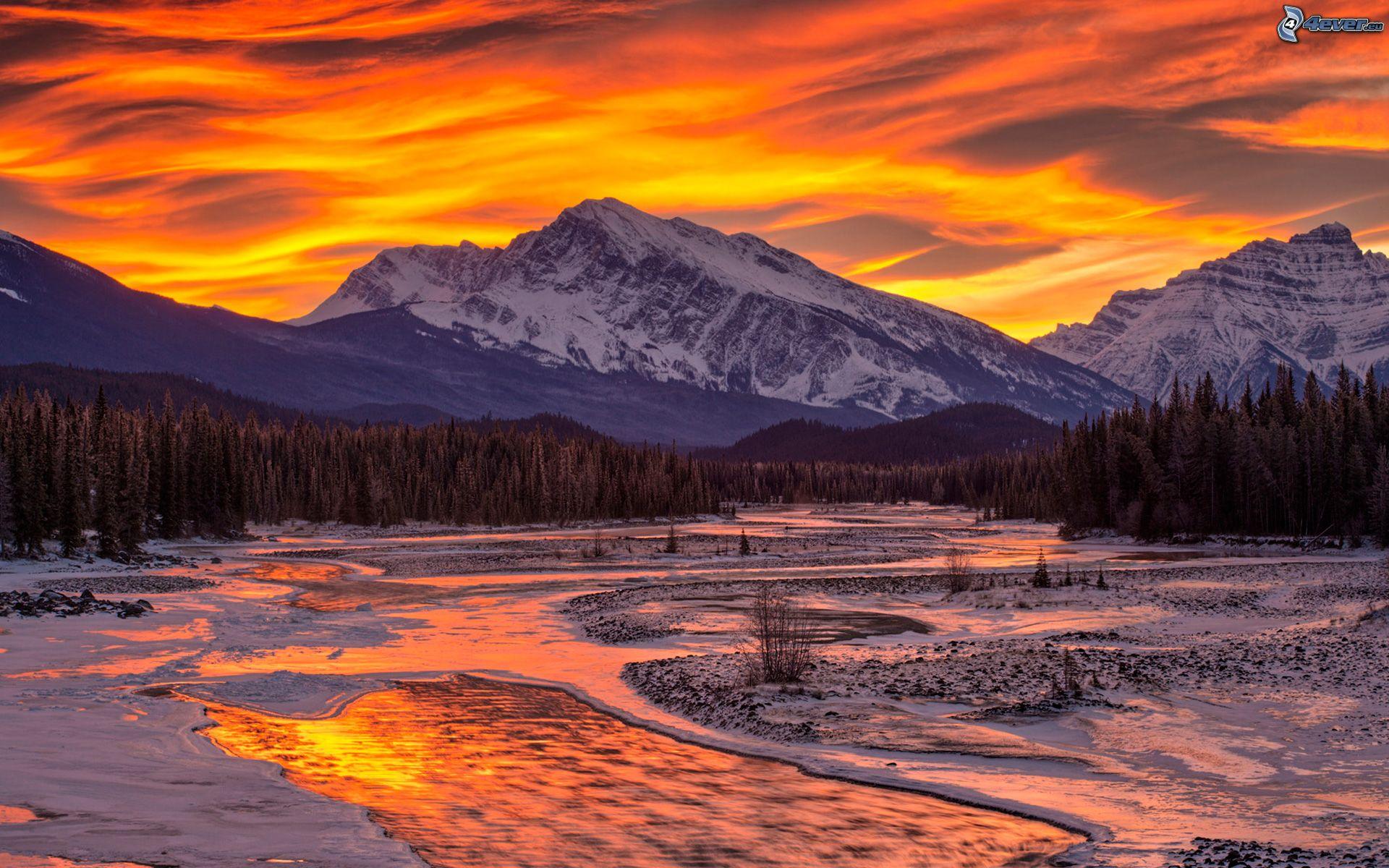 Ruisseau - Photo coucher de soleil montagne ...
